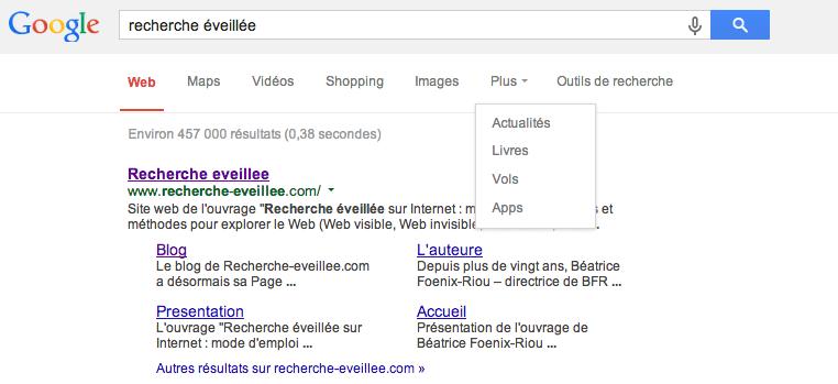 Filtres proposes par Google en fevrier 2014