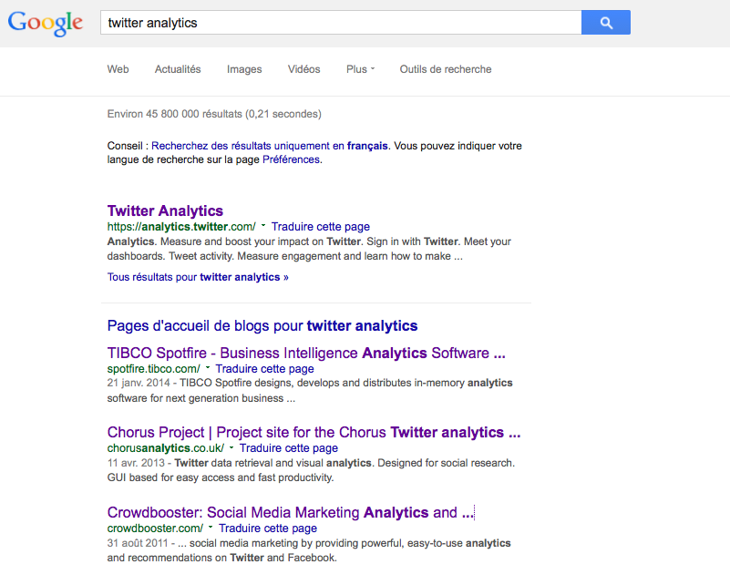 recherche blogs depuis google web
