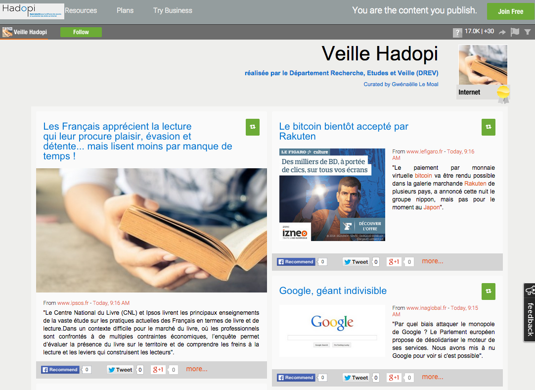 Hadopi Veille Scoop-it
