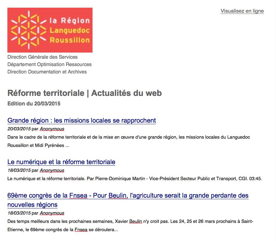 MailChimp Veille Région Languedoc-Roussillon