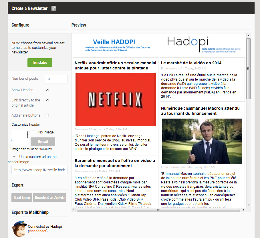 hadopi veille newsletter réalisée avec scoopit