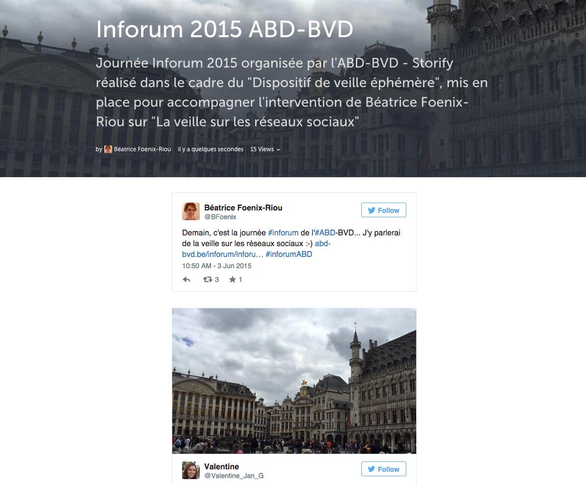 Storify pour le dispositif de veille éphémère Journée Inforum