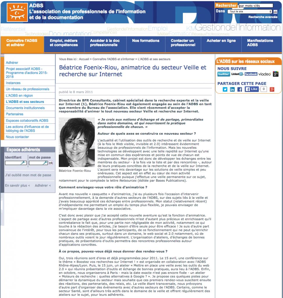 ADBS Interview de Beatrice Foenix-Riou Secteur Veille