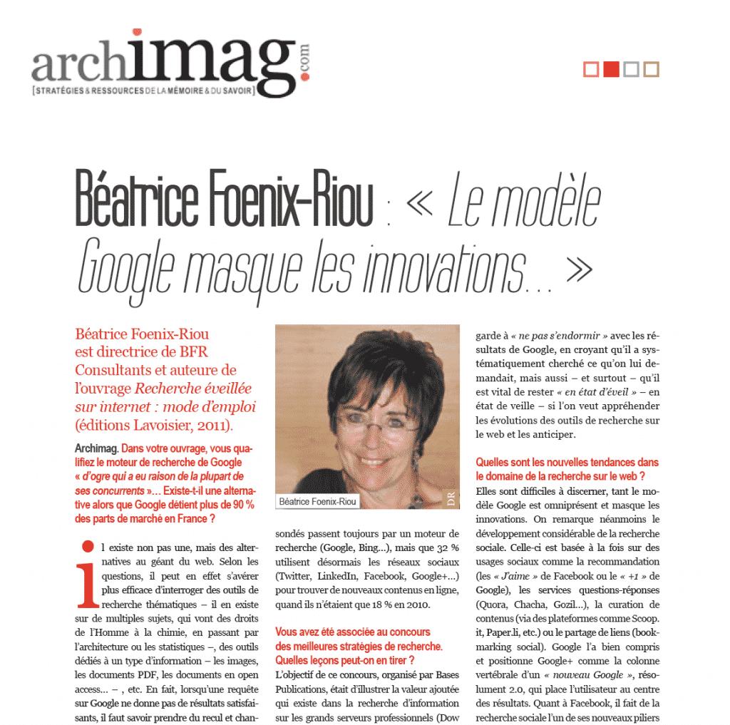 Interview de Béatrice Foenix-Riou dans Archimag