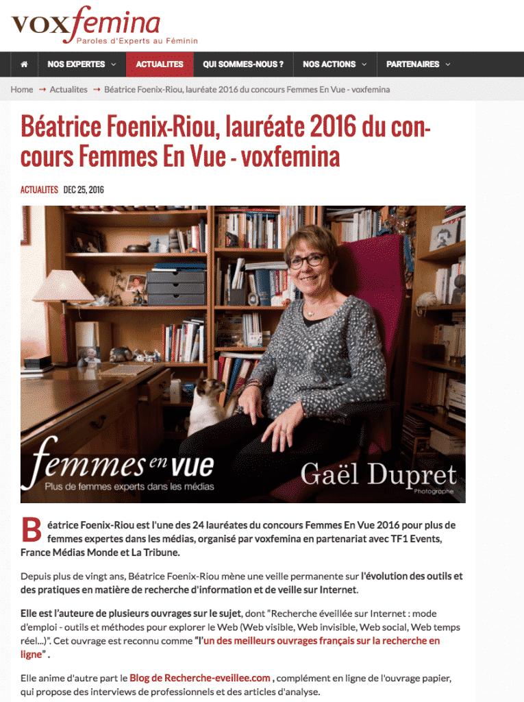 Béatrice Foenix-Riou - Concours Femmes En Vue de Voxfemina
