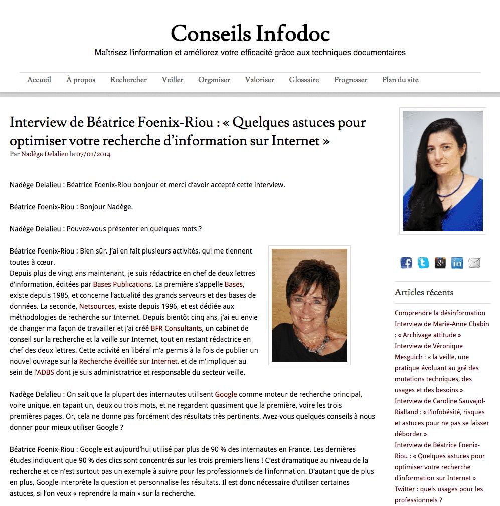 Interview de Béatrice Foenix-Riou par Conseils Infodoc