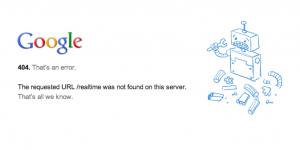 onglet temps réel de google erreur
