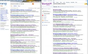 comparaison des résultats recherche sur yahoo et bing