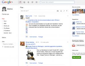 flux de news sur la plateforme google+