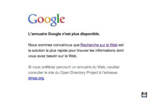 message erreur annuaire dmoz via google