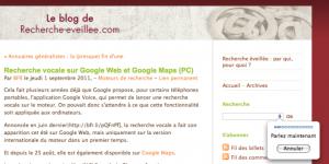recherche vocale sur Google Web