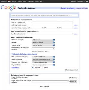 grille de recherche avancée google