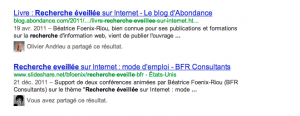 integration donnees google+ dans resultats web