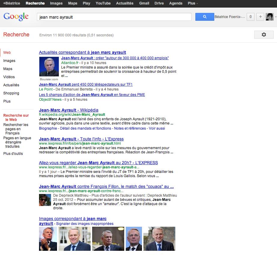 page de résultats google france