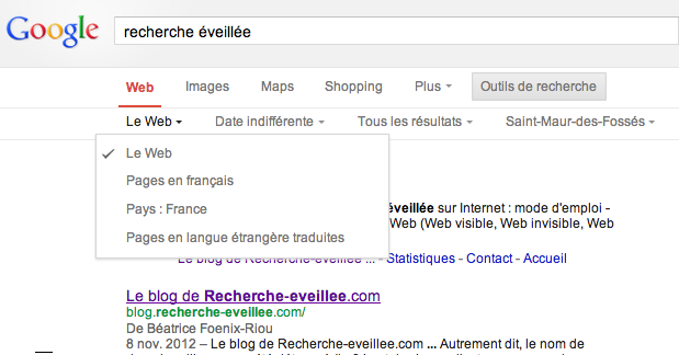 google version simplifiee pages de resultats
