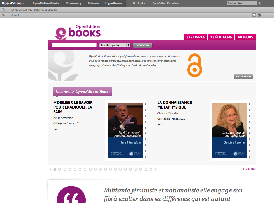openedition books page accueil