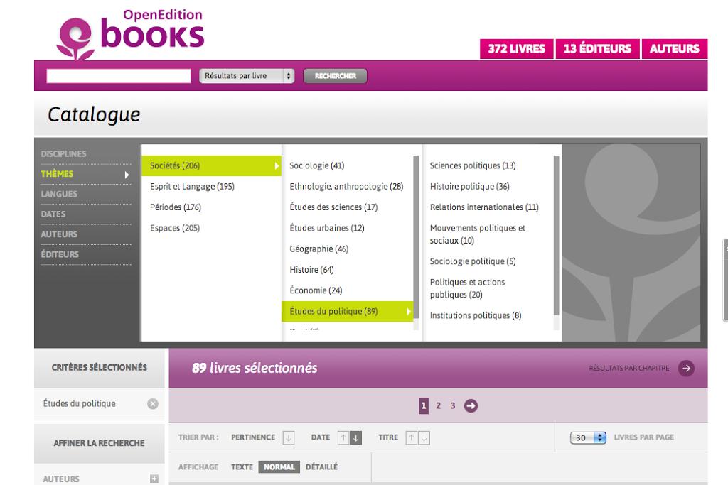openedition books recherche par themes