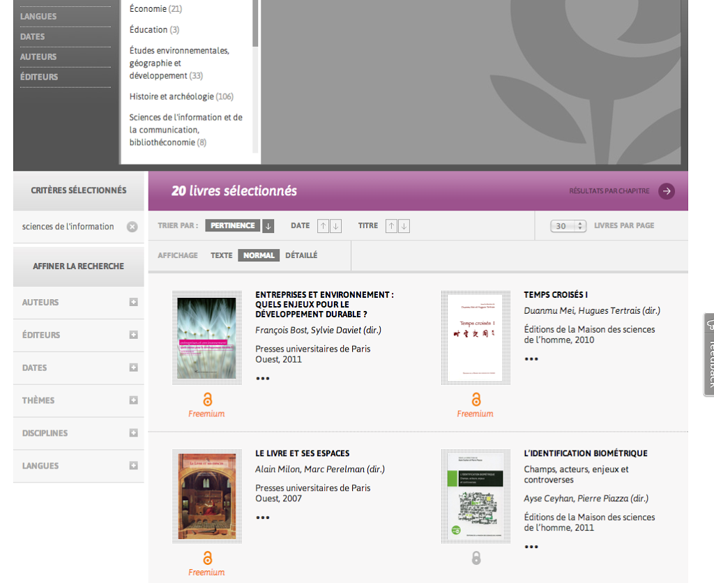 openedition books pages de resultats