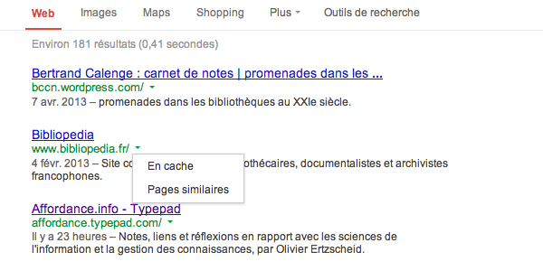 version cache actuelle de Google