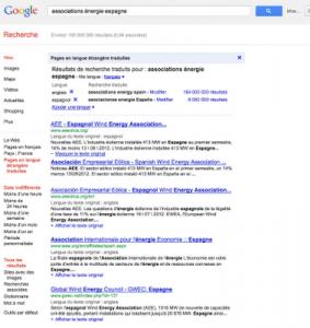 Resultat Pages en langue étrangère traduites Google