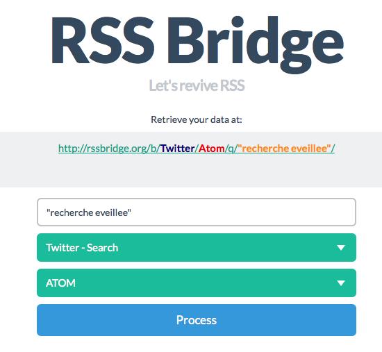 Outils pour le twitteur veilleur : RSSBridge