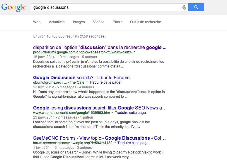 Filtrer les resultats avec Google Discussions