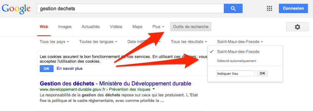 google paramétrage de la localisation