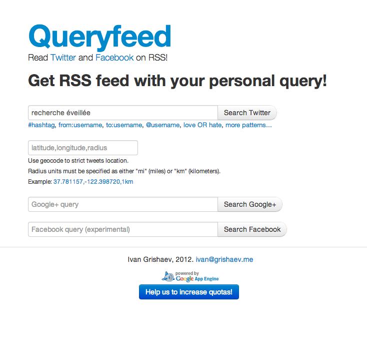 Creer un flux RSS depuis Twitter Queryfeed