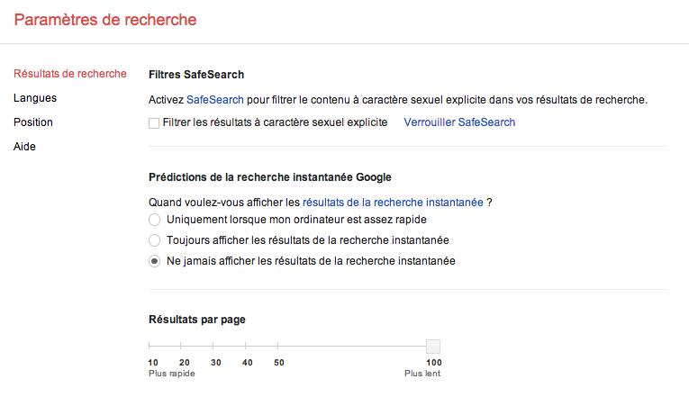 N108 Google parametres