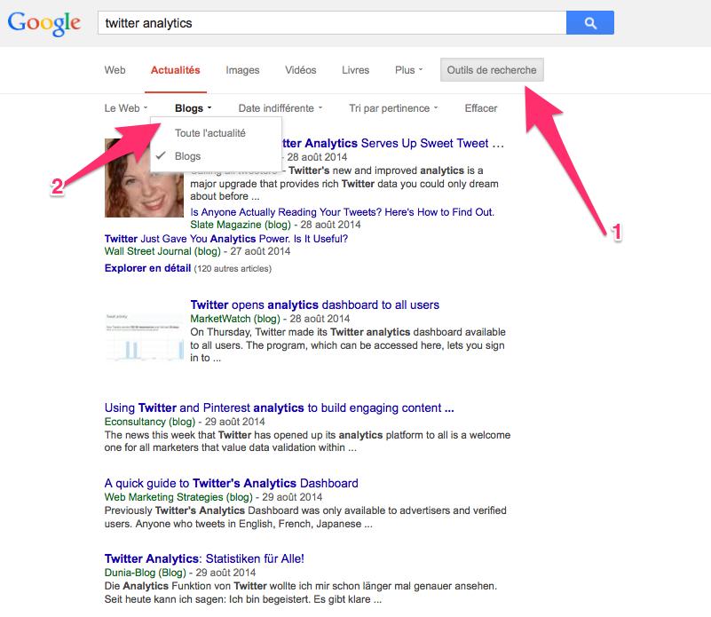 google recherche de blogs depuis actualités