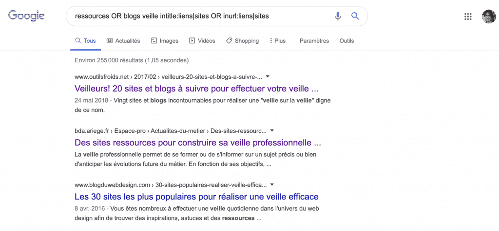 Identifier des pages de liens sur Google